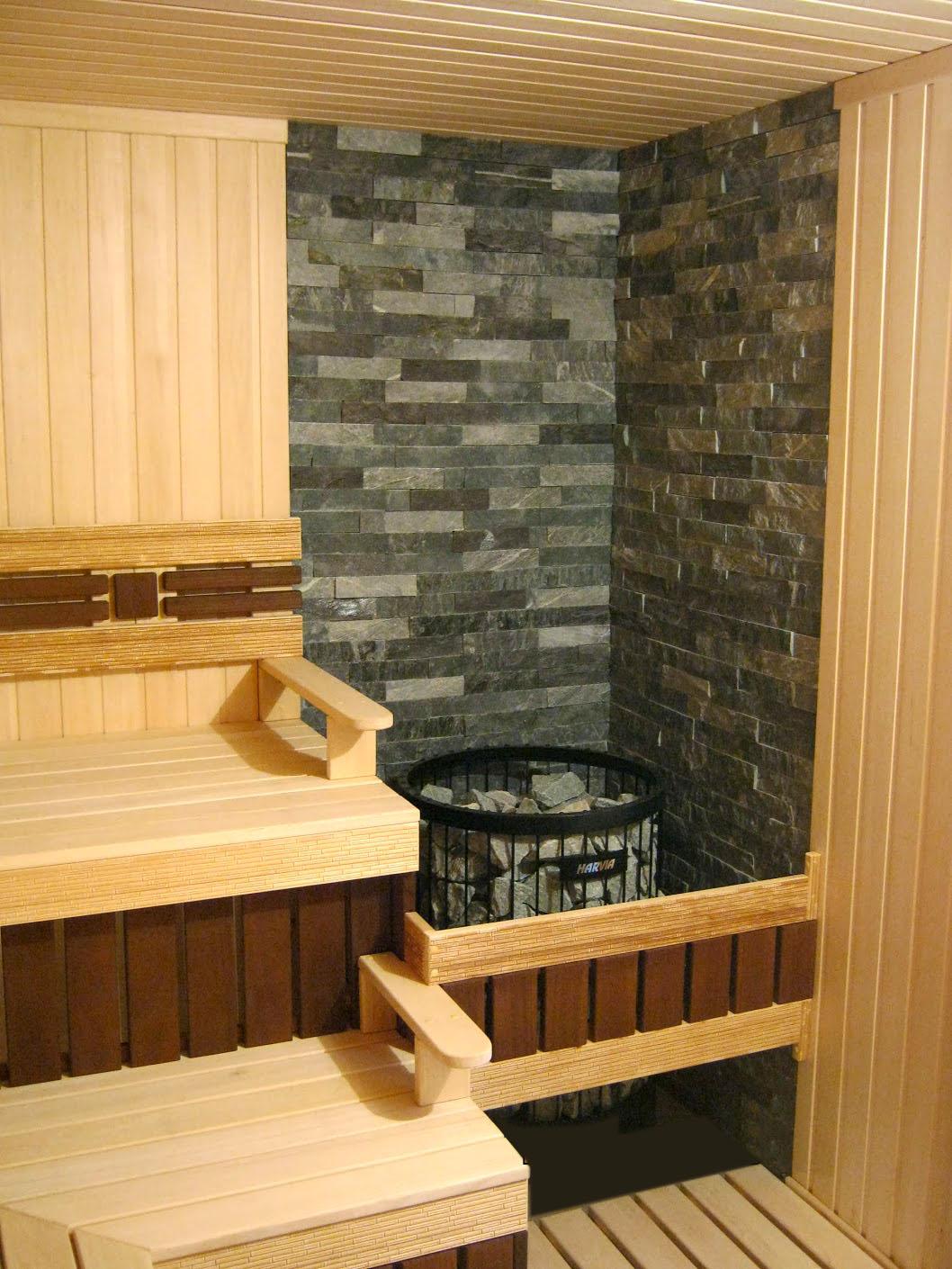 Деревянная и каменная отделка сауны