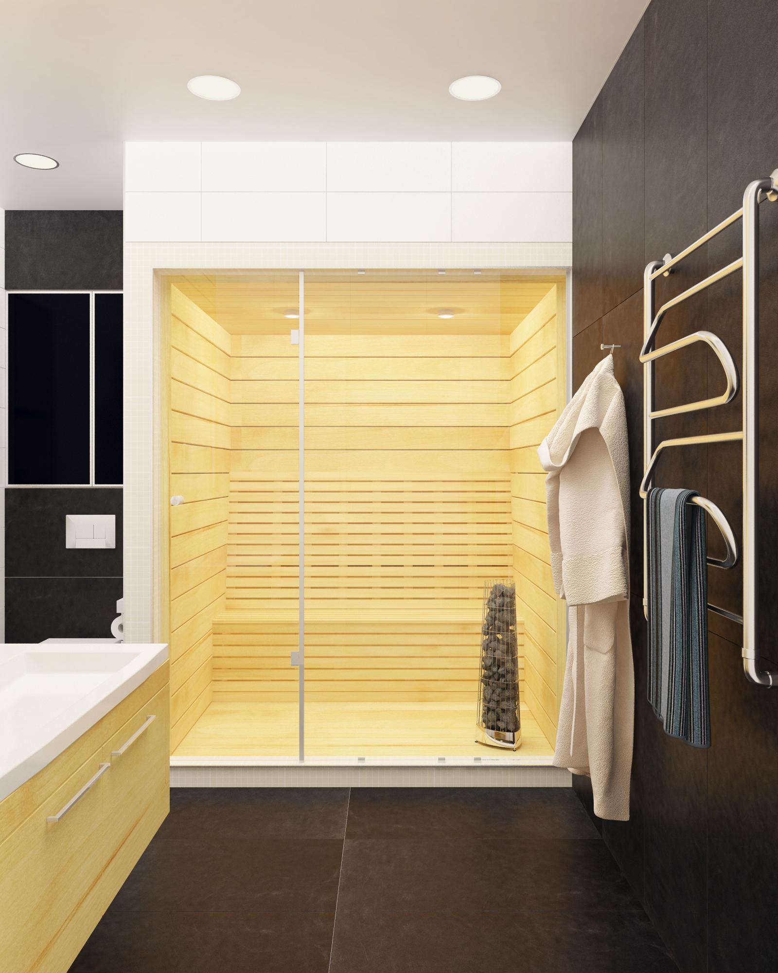 Сауна в стильной ванной комнате