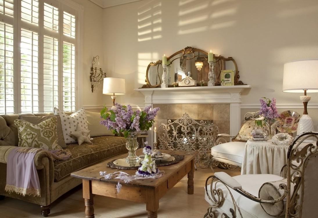 Бежево-коричневая гостиная в стиле шебби-шик