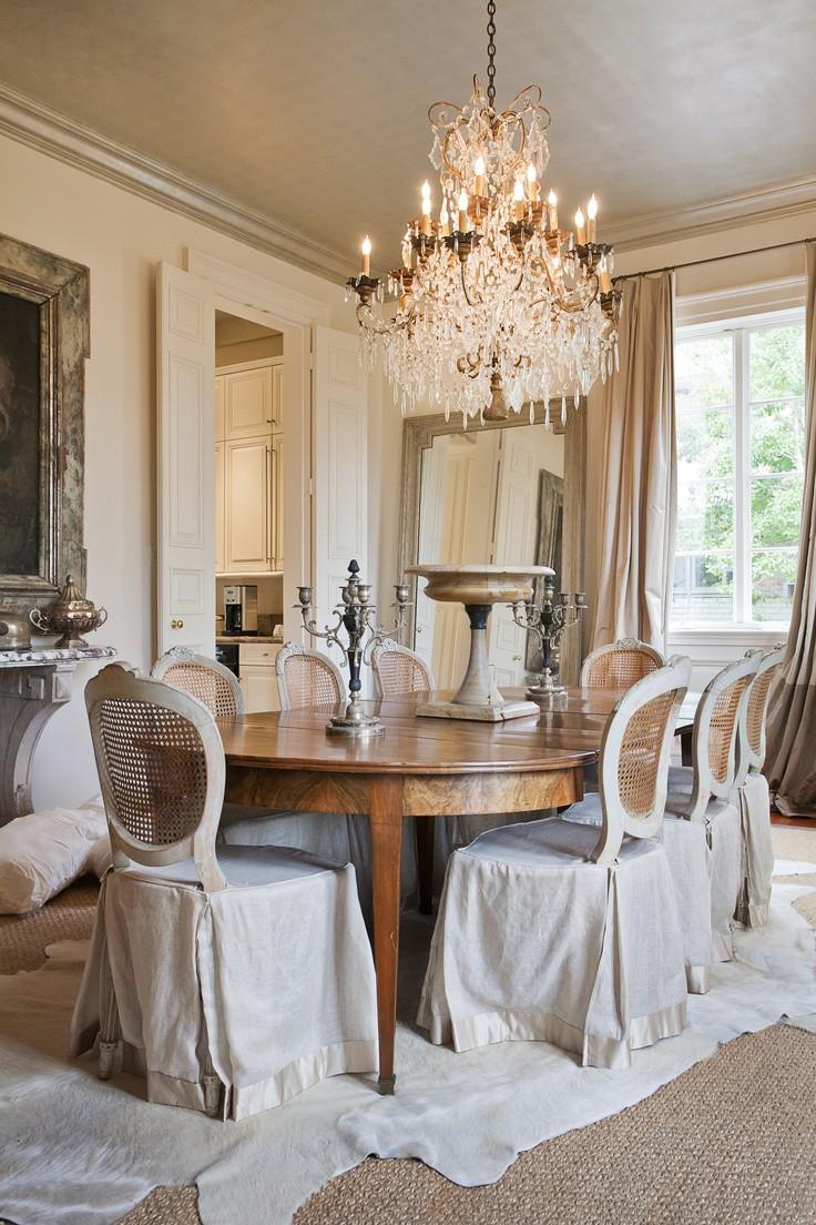 Бежевые шторы в столовой в стиле шебби-шик