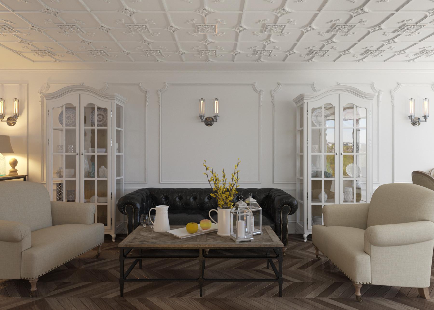 Белые стены и коричневый пол в гостиной в стиле шебби-шик
