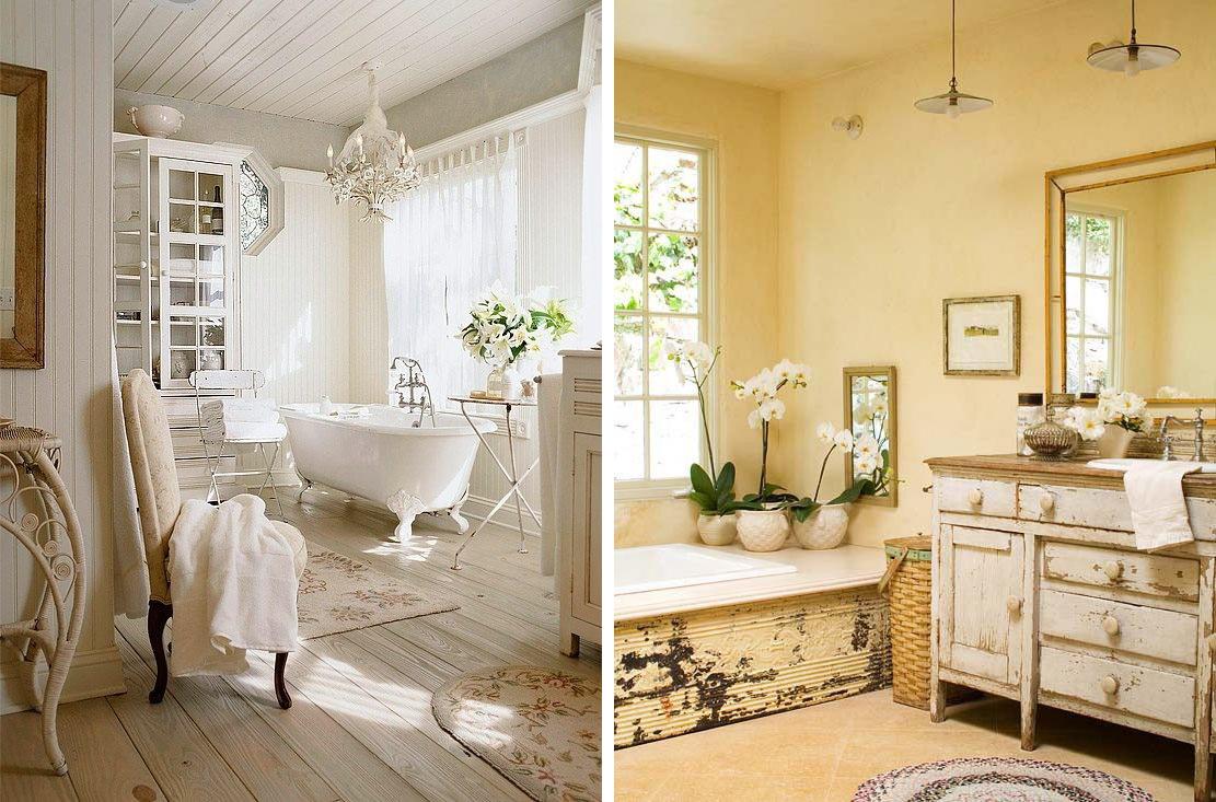 Интерьеры ванных комнат в стиле шебби-шик