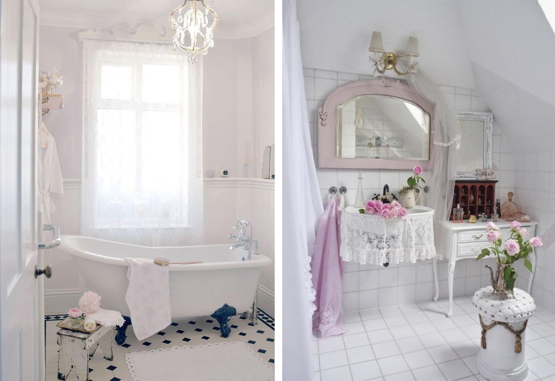 Белые ванные комнаты в стиле шебби-шик