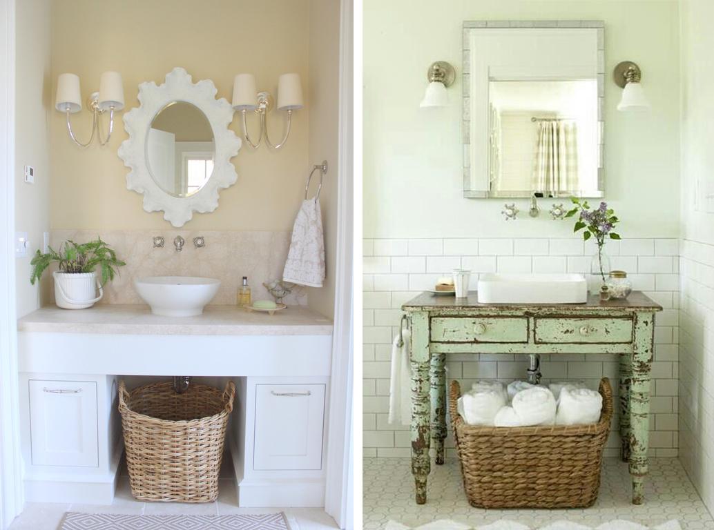 Уютные ванные комнаты в стиле шебби-шик