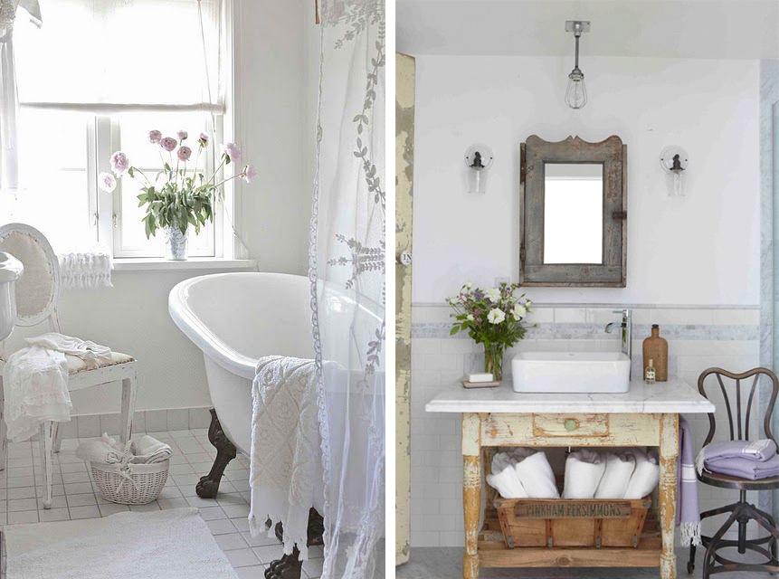 Белые прозрачные шторы в ванной в стиле шебби-шик