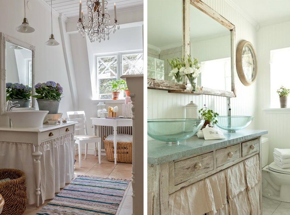 Деревянная мебель в ванных комнатах в стиле шебби-шик