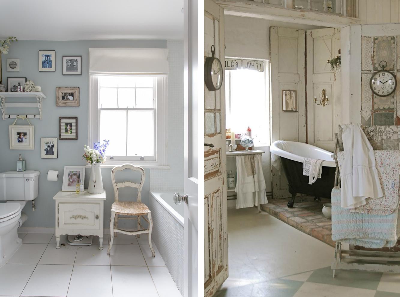 Римские белые шторы в ванной в стиле шебби-шик