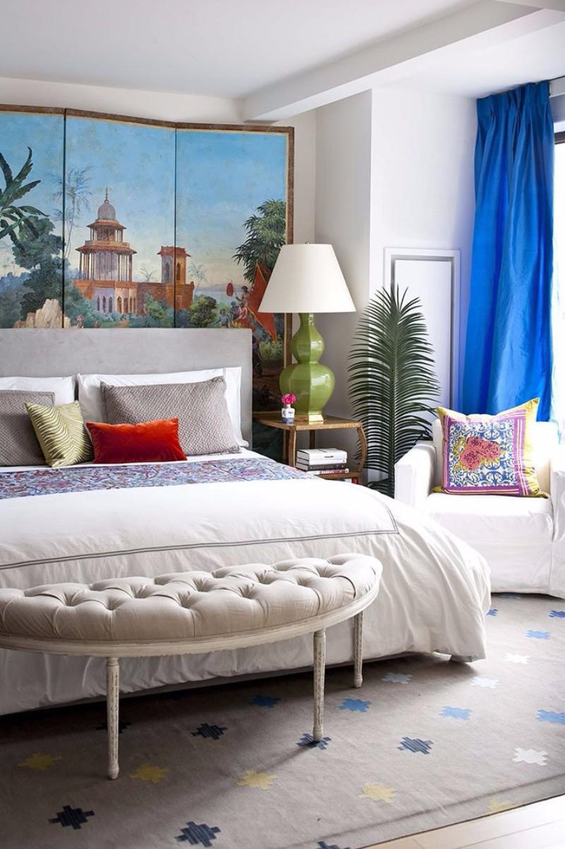 Дизайн спальни 18 кв м с ширмой
