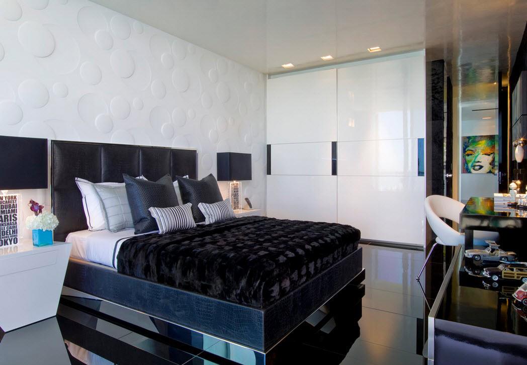 Черно-белый шкаф-купе в спальне