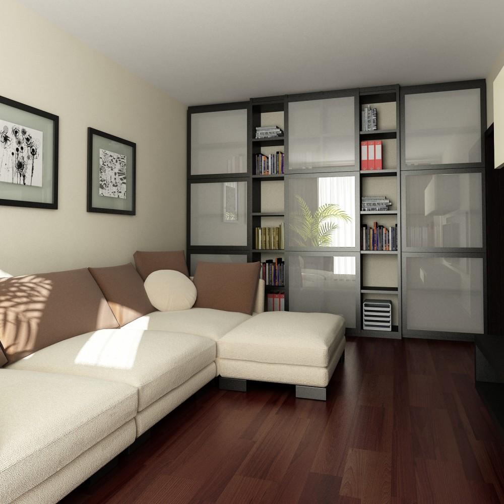Книжный шкаф-купе в гостиной