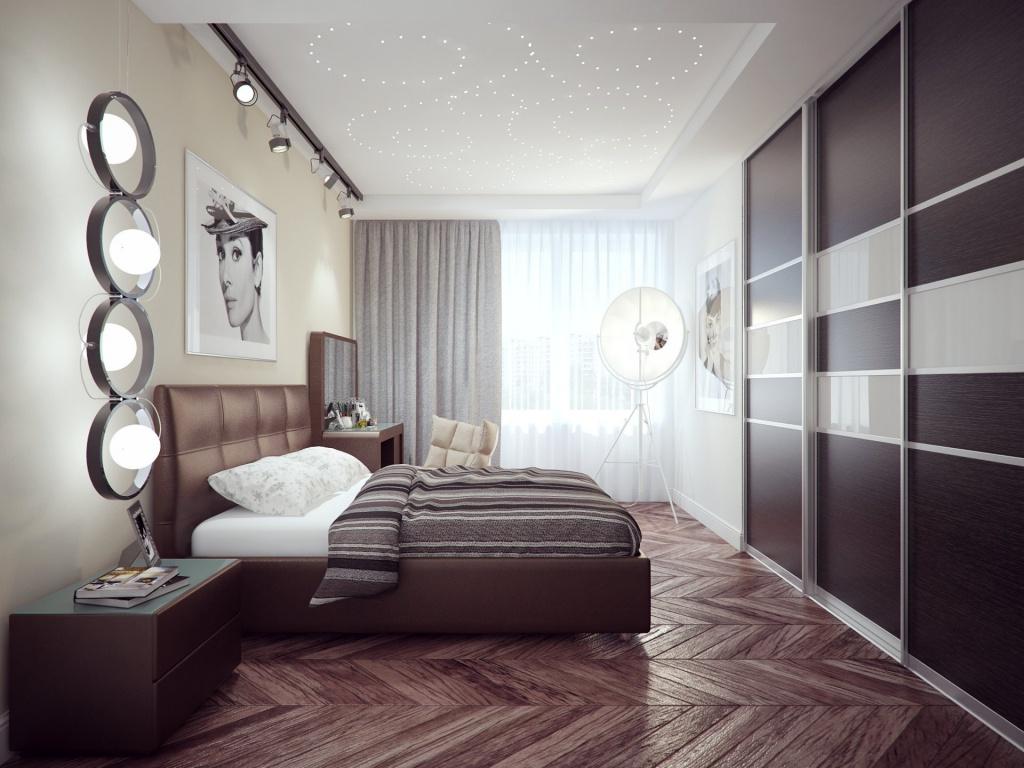 Большой встроенный шкаф-купе в спальне