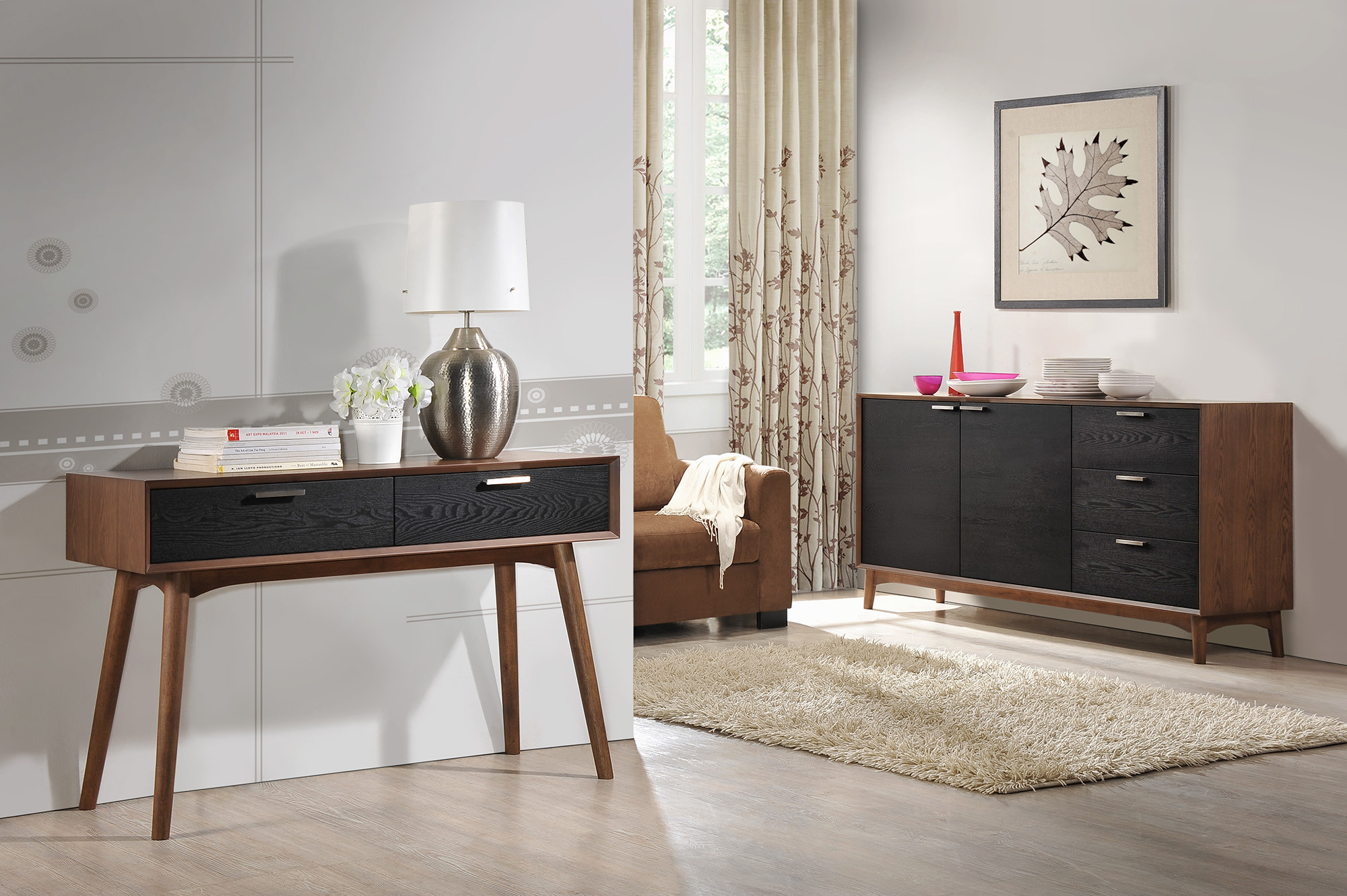 Шпонированная мебель цвета орех