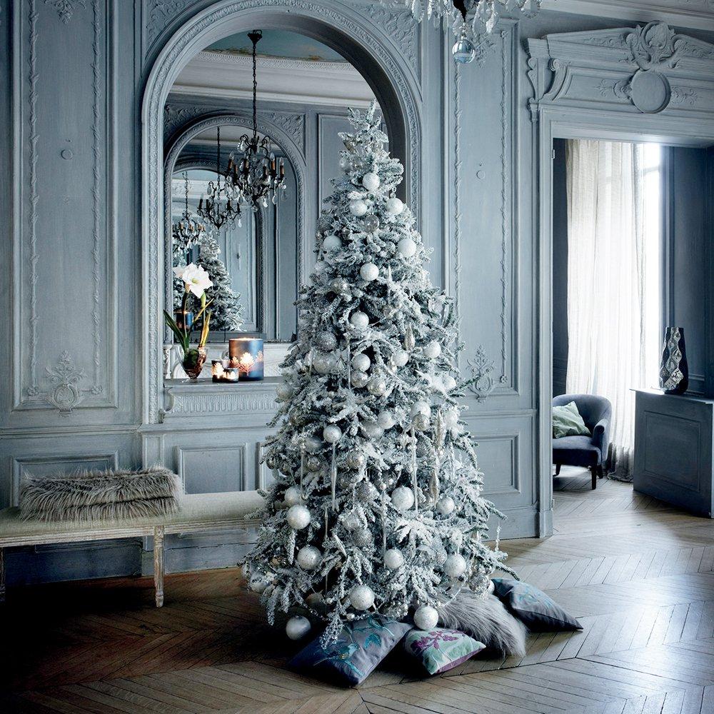 Оформление новогодней елки снежной