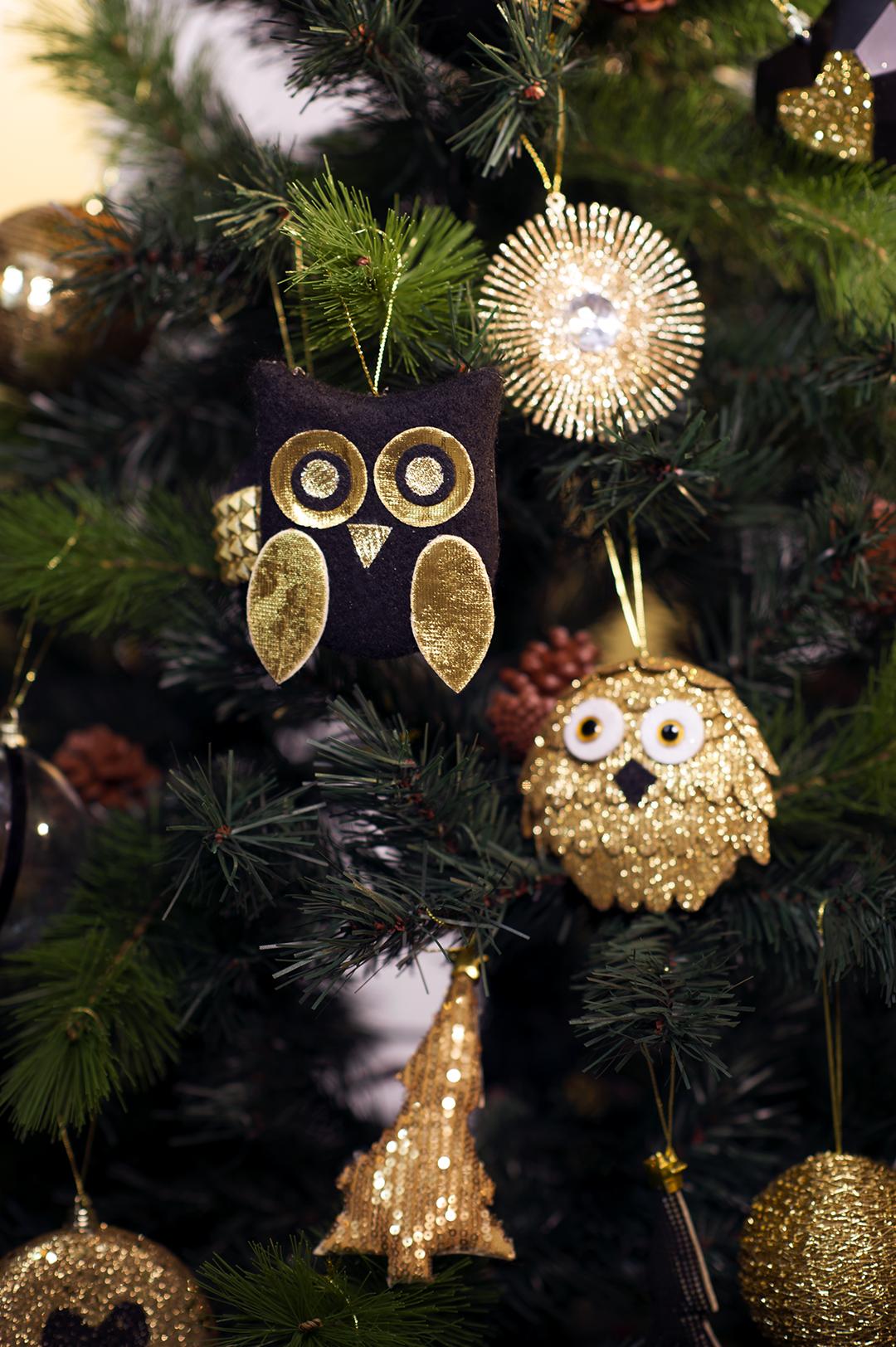 Оформление новогодней елки совами