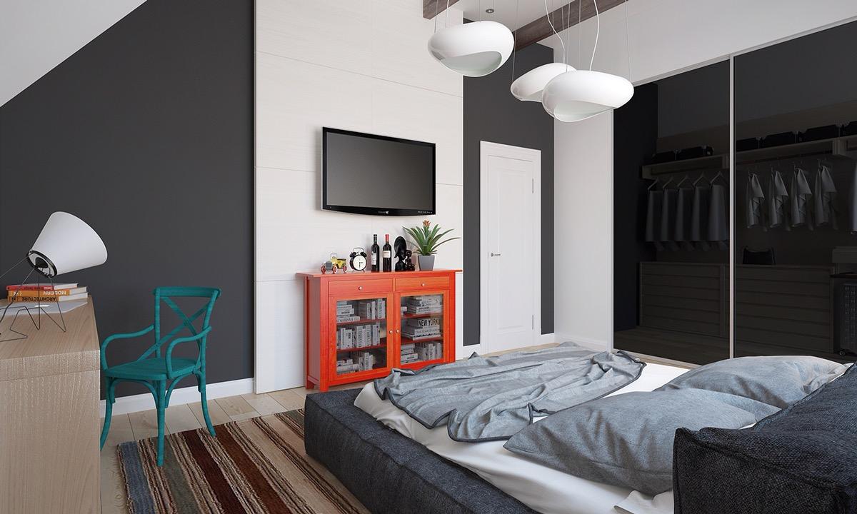 Оранжевый, зеленый и другие акценты в черно-белой спальне