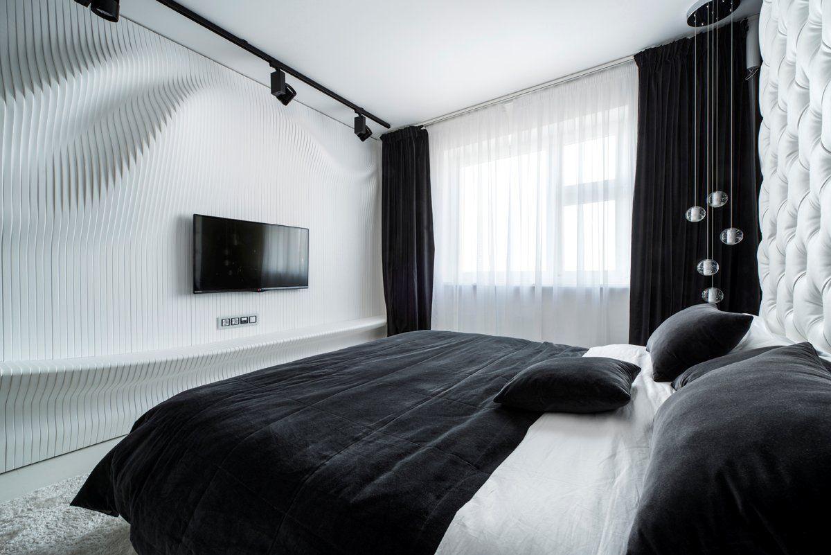 Черно-белая большая спальня в стиле ар-деко