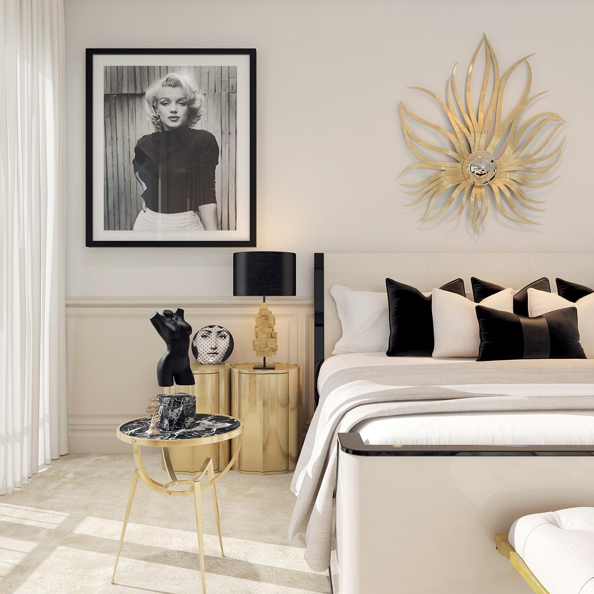 Черно-белая спальня в стиле ар-деко
