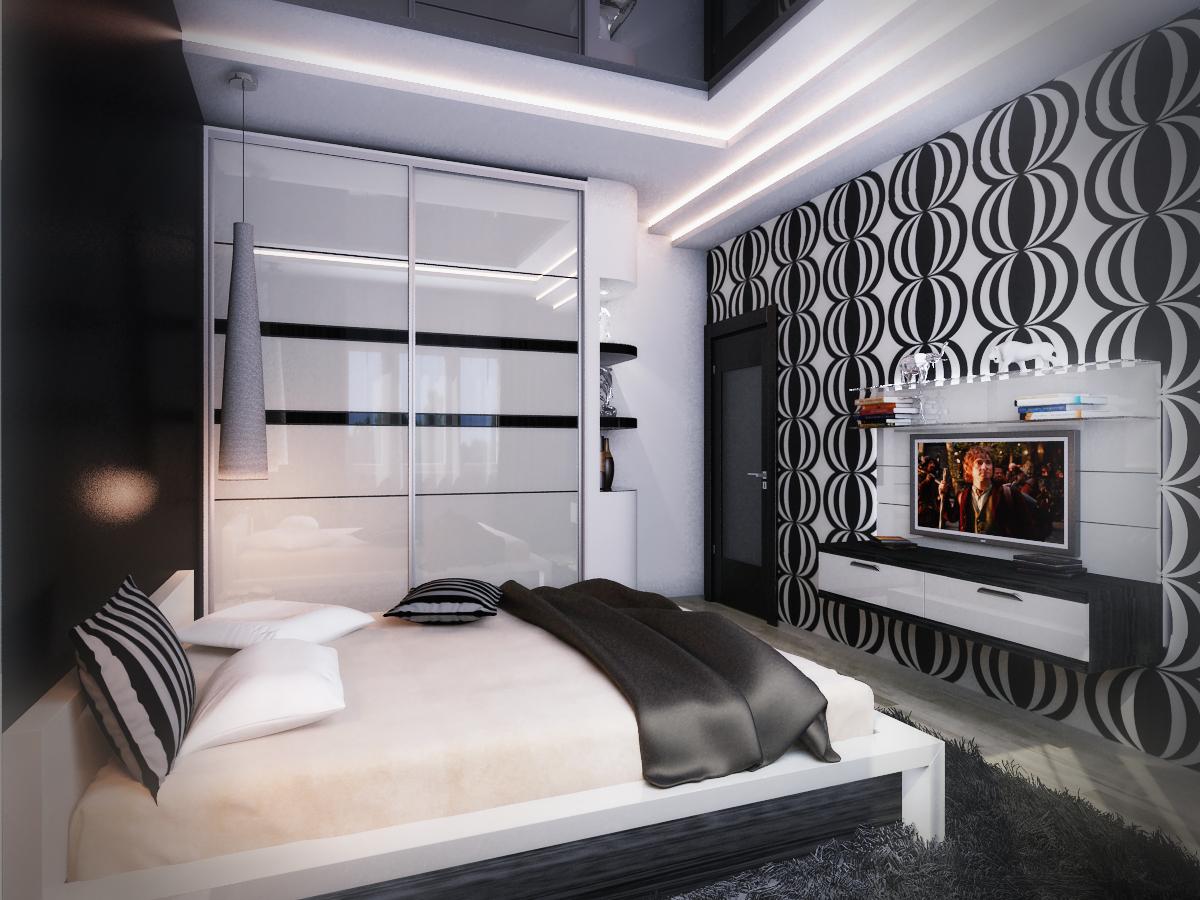 Небольшая черно-белая спальня в классическом стиле