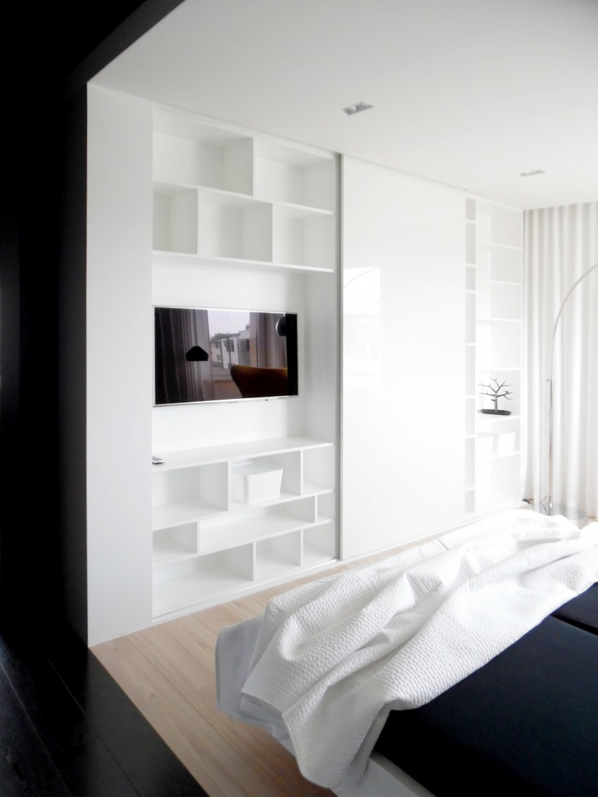 Черно-белый минималистичный дизайн спальни
