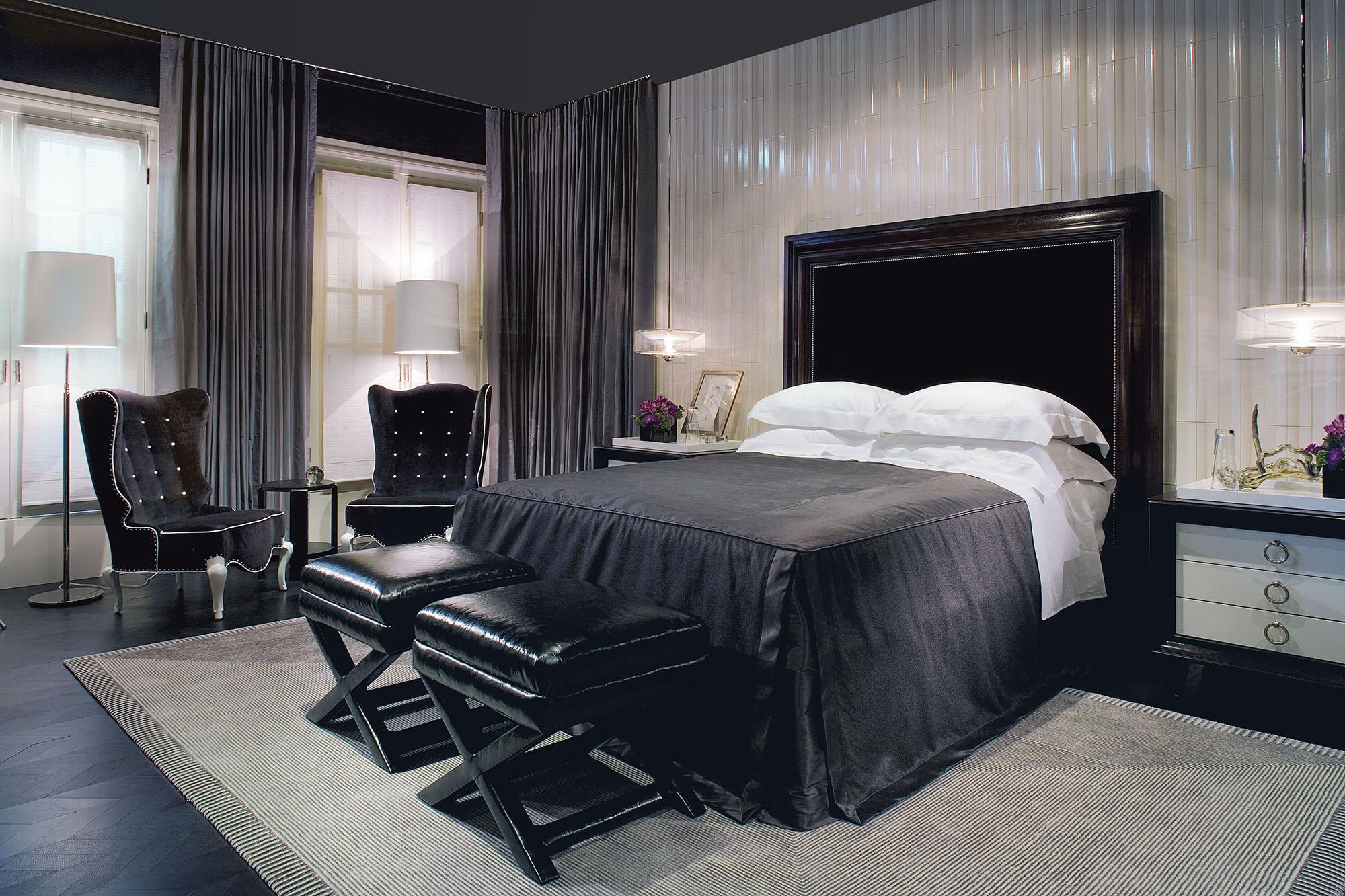 Роскошная черно-белая спальня в стиле ар-деко