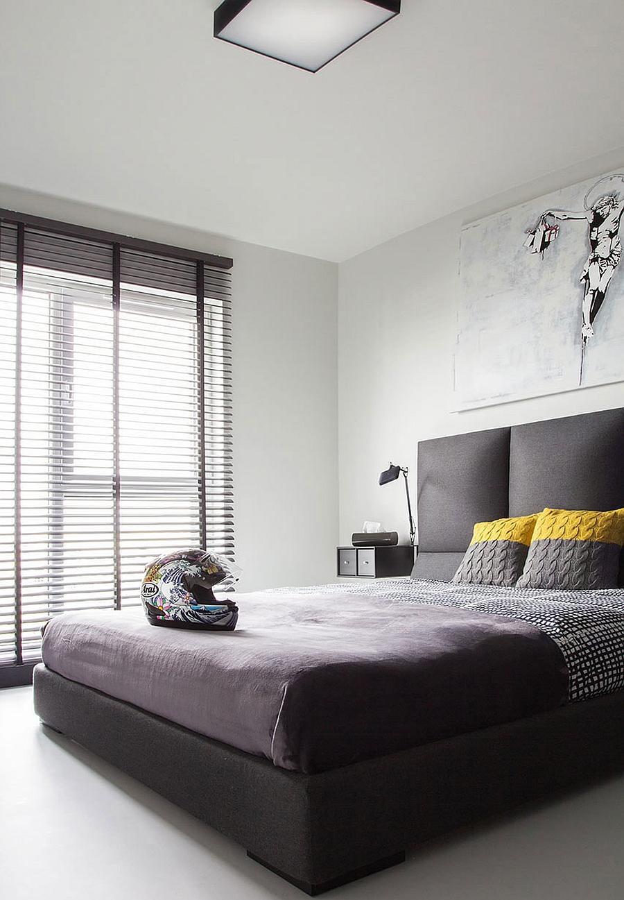 Черно-белая спальня в минималистичном стиле