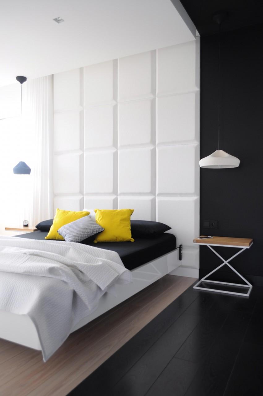 Необычная черно-белая спальня с желтыми акцентами