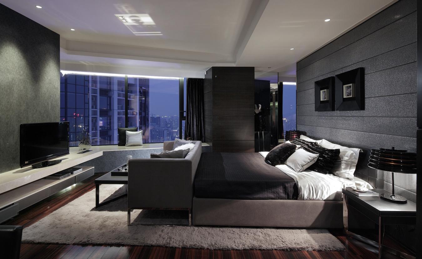 Черно-белая спальня-гостиная в стиле ар-деко
