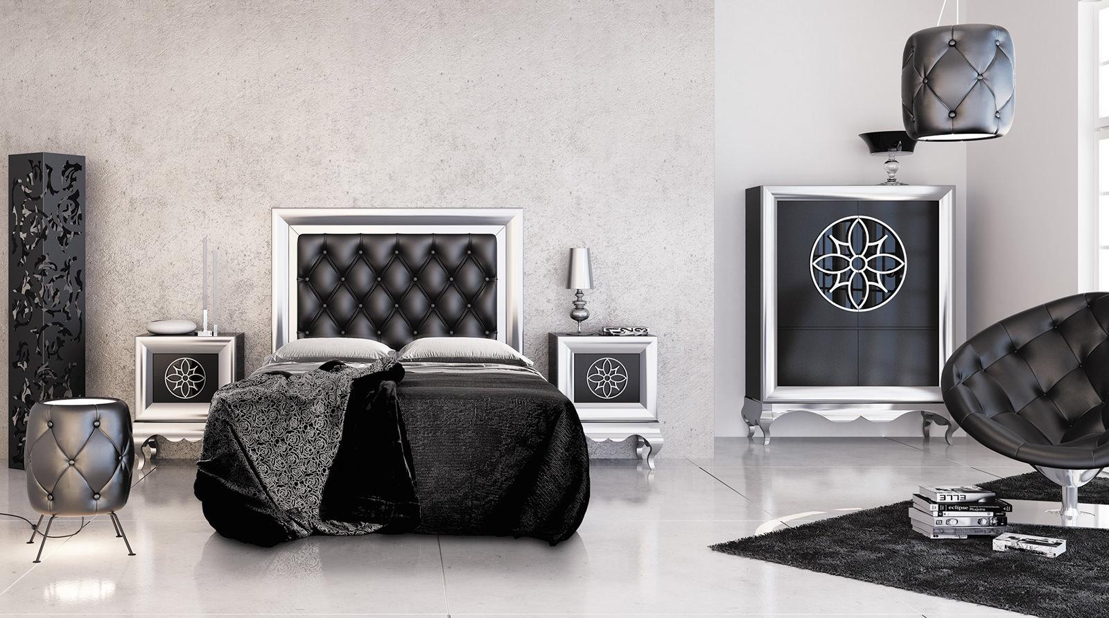Большая черно-белая спальня в стиле ар-деко