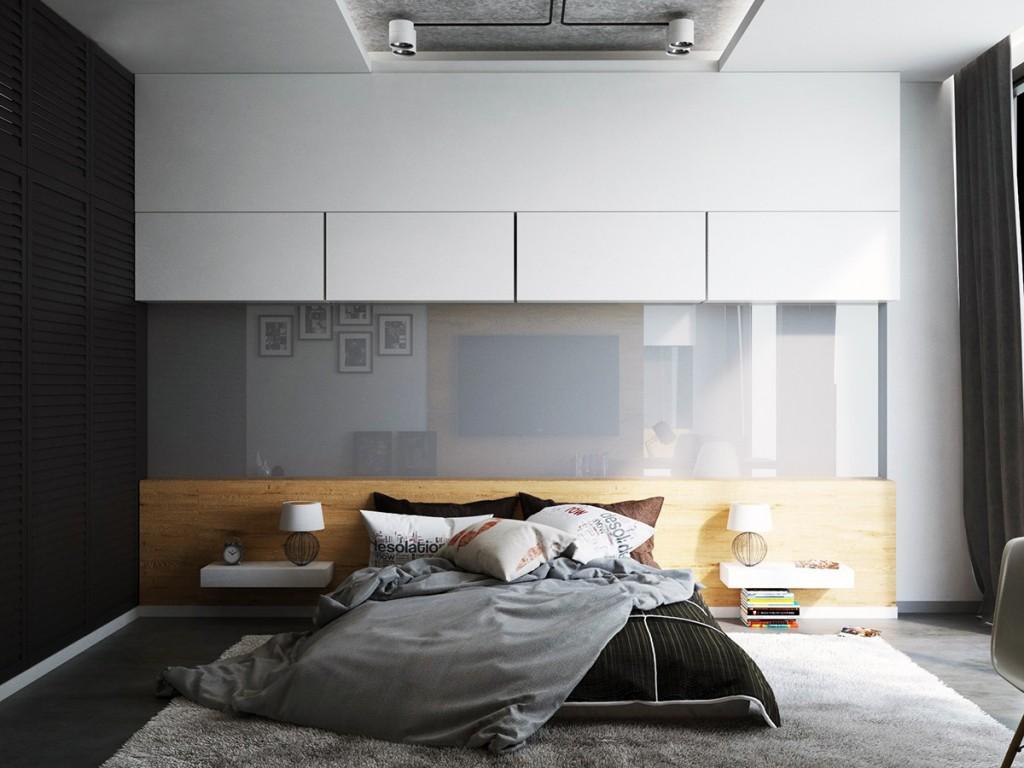 Черно-белая спальня с серой глянцевой панелью