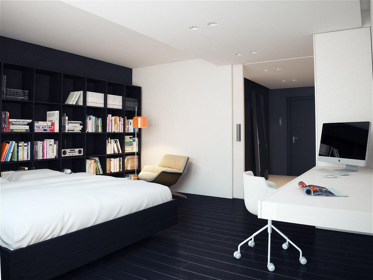 Уютная черно-белая спальня с рабочим местом