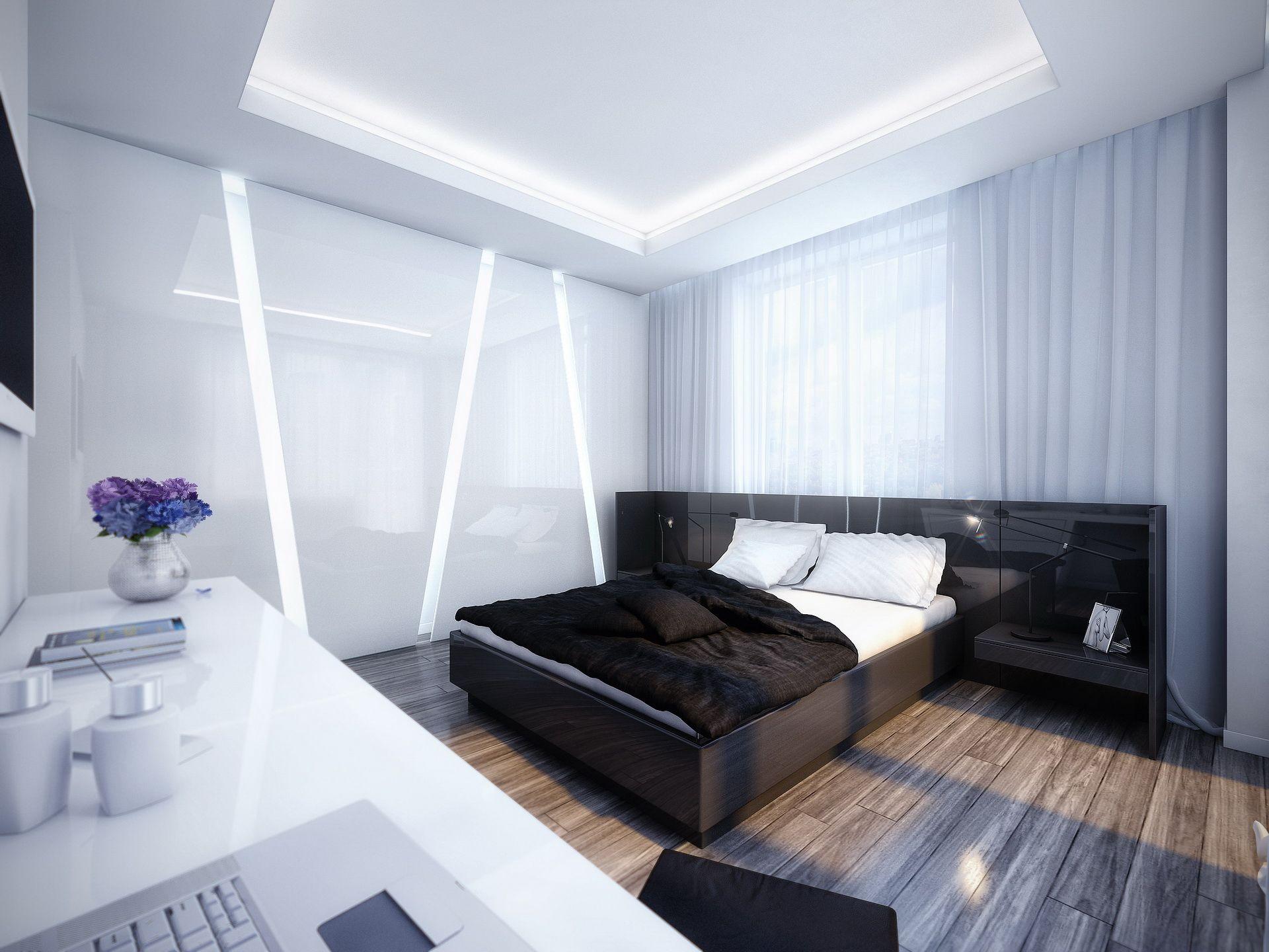 Черно-белая спальня с глянцевыми поверхностями в стиле хай-тек