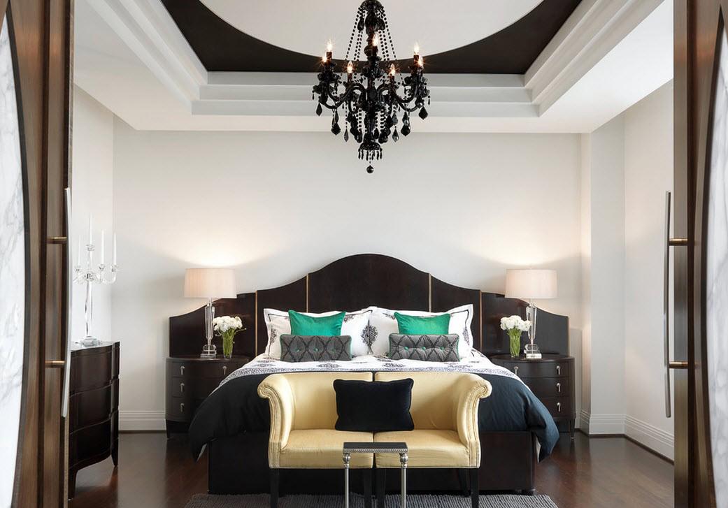 Черно-белая спальня в восточном стиле