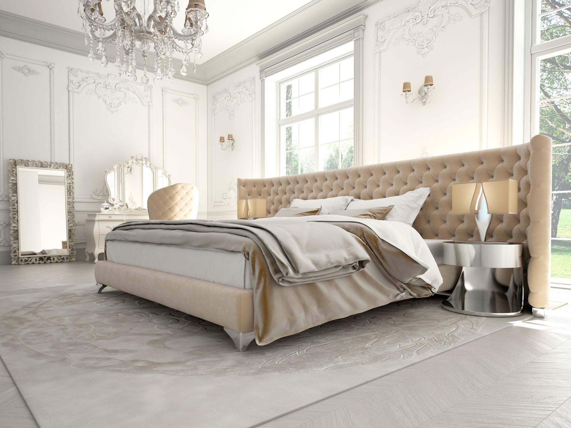 Серый, бежевый и белый цвета в спальне