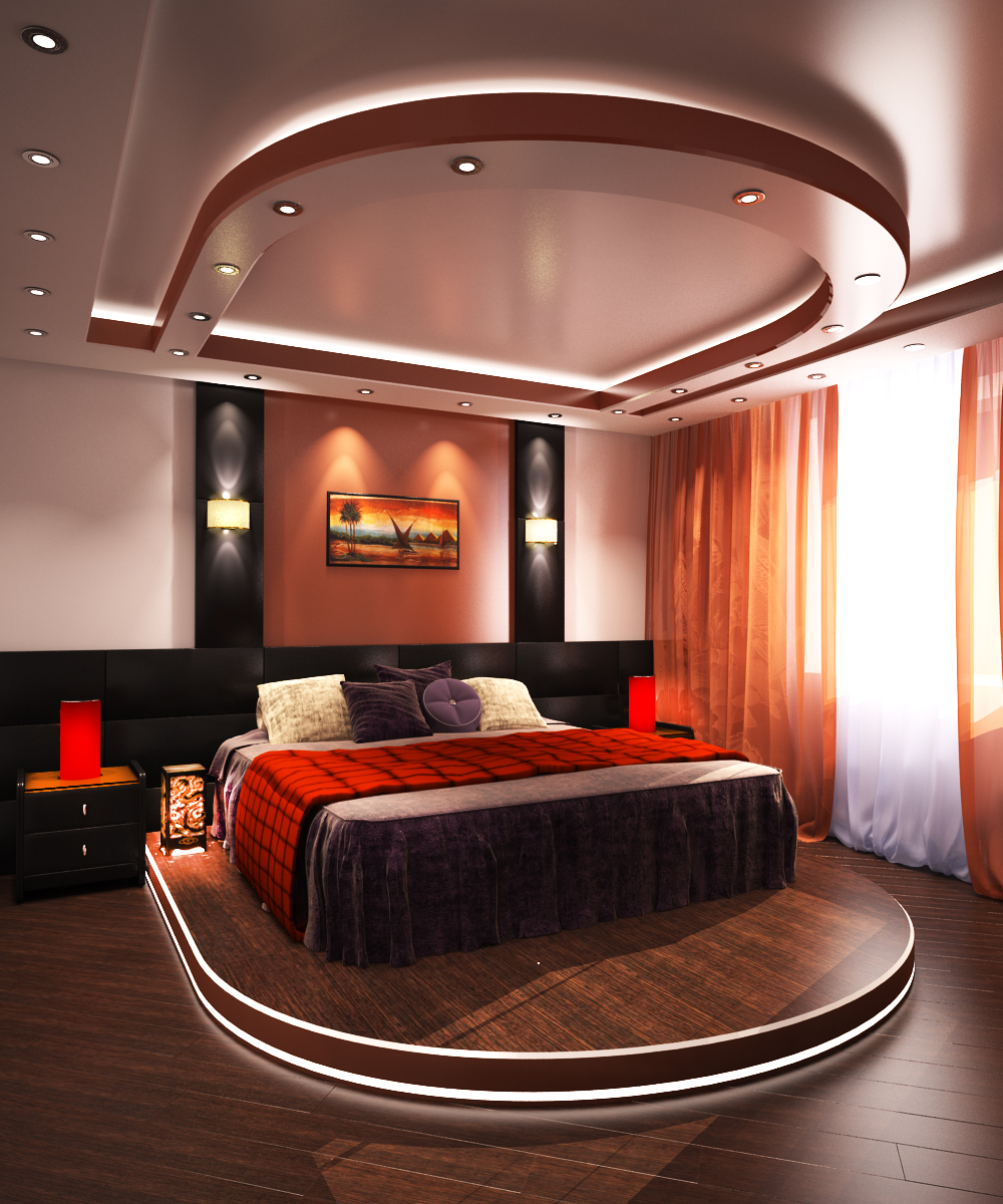 Кровать на подиуме в спальне по фэн-шуй