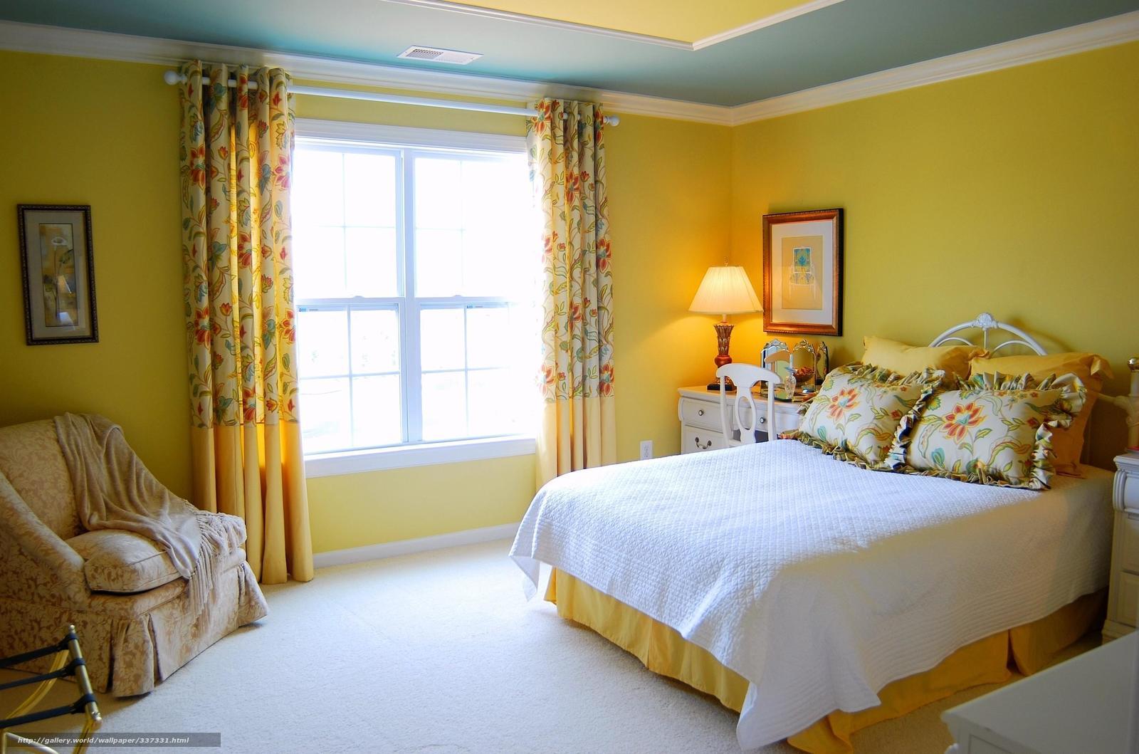 Желтые акценты в спальне