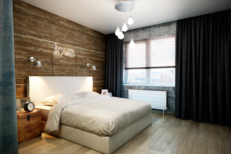 Оформление стены в спальне деревом