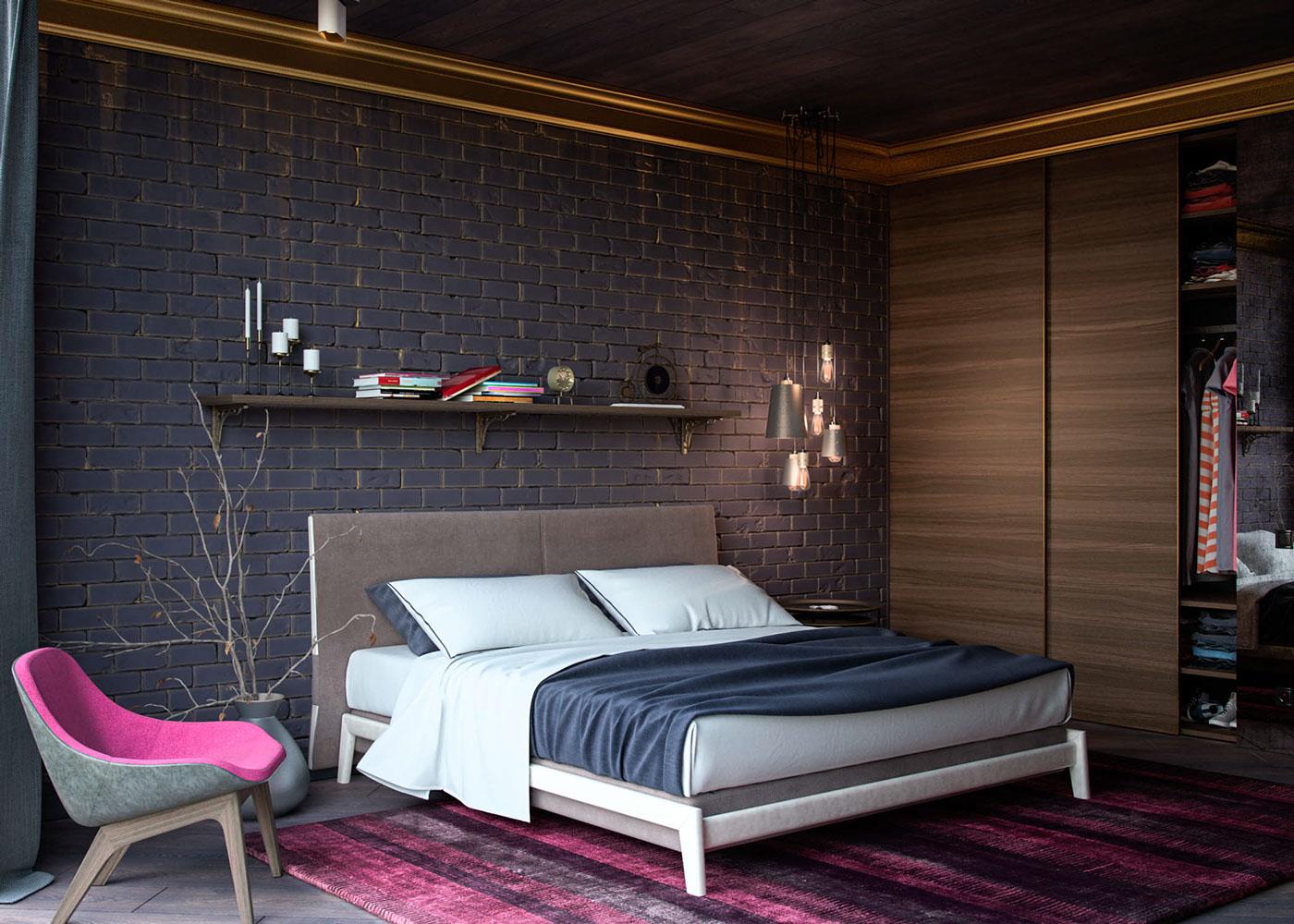 Розовые акценты в спальне в стиле лофт