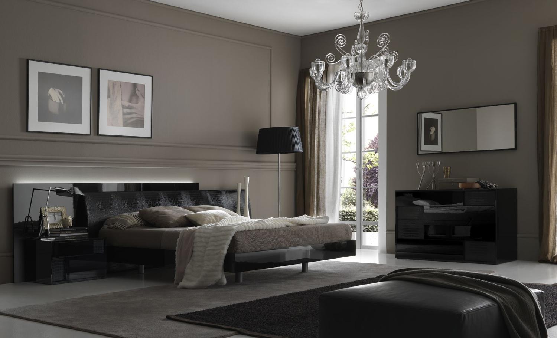 Черный, серый и белый цвета в интерьере спальни