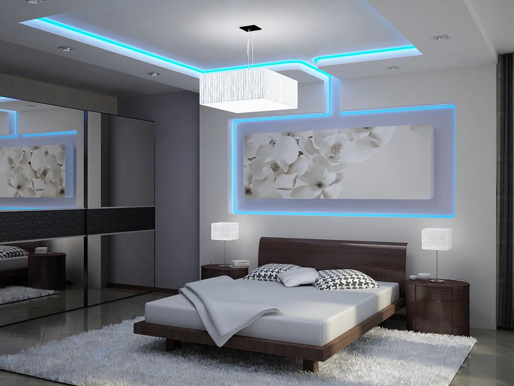 Фотообои с белыми цветами в интерьере спальни