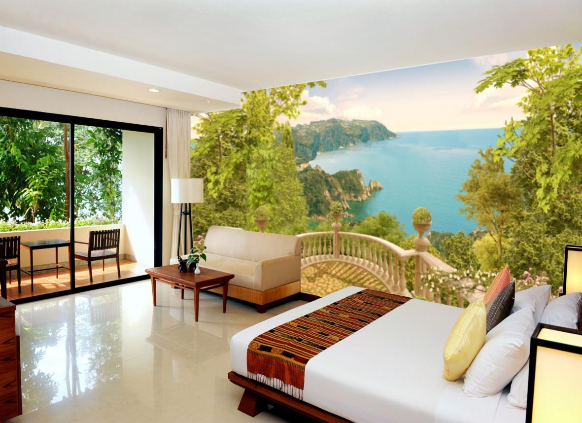 Фотообои с красивым видом на природу в спальне