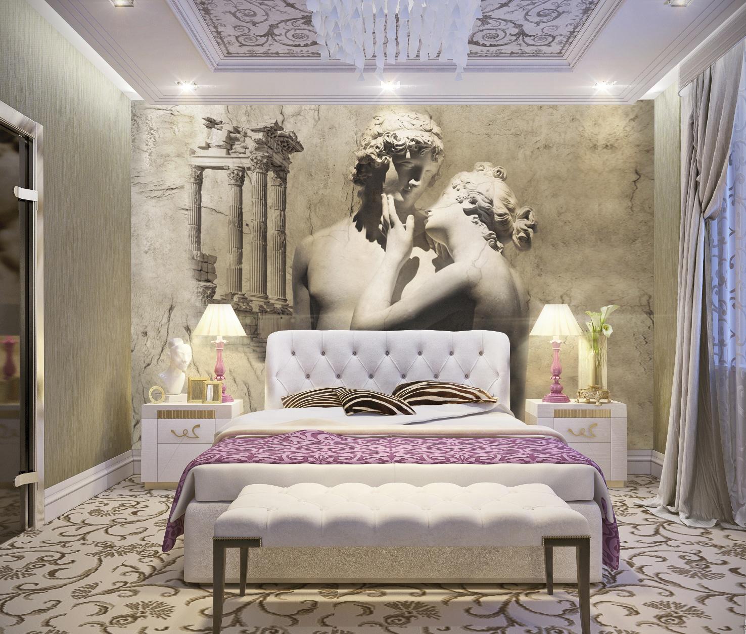 Фотообои с античными скульптурами в спальне