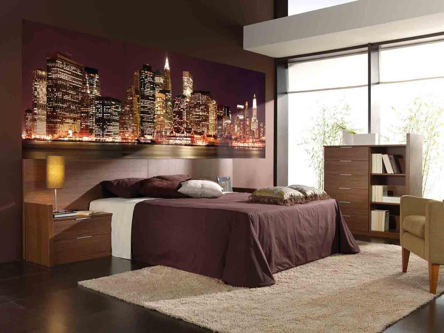 Фотообои с панорамным видом на город в спальне