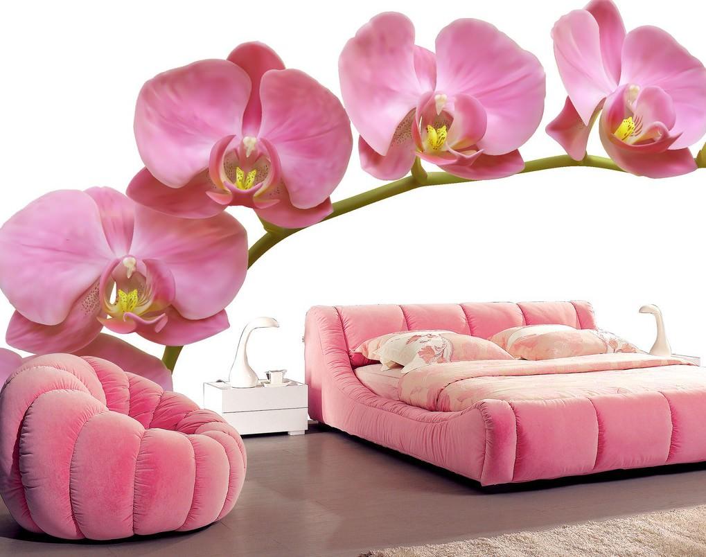 Фотообои с орхидеей в спальне
