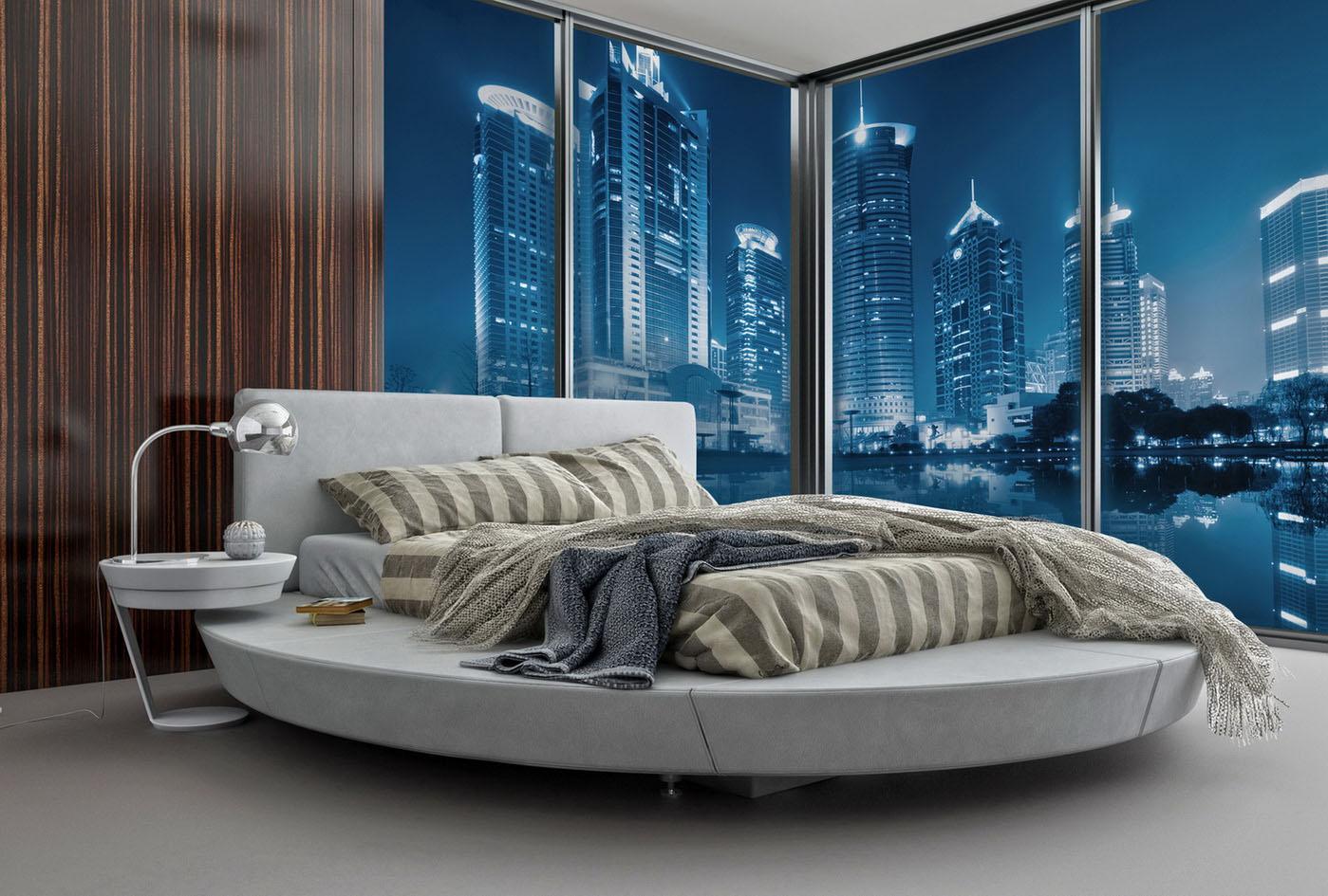 3-d фотообои с видом на город в спальне