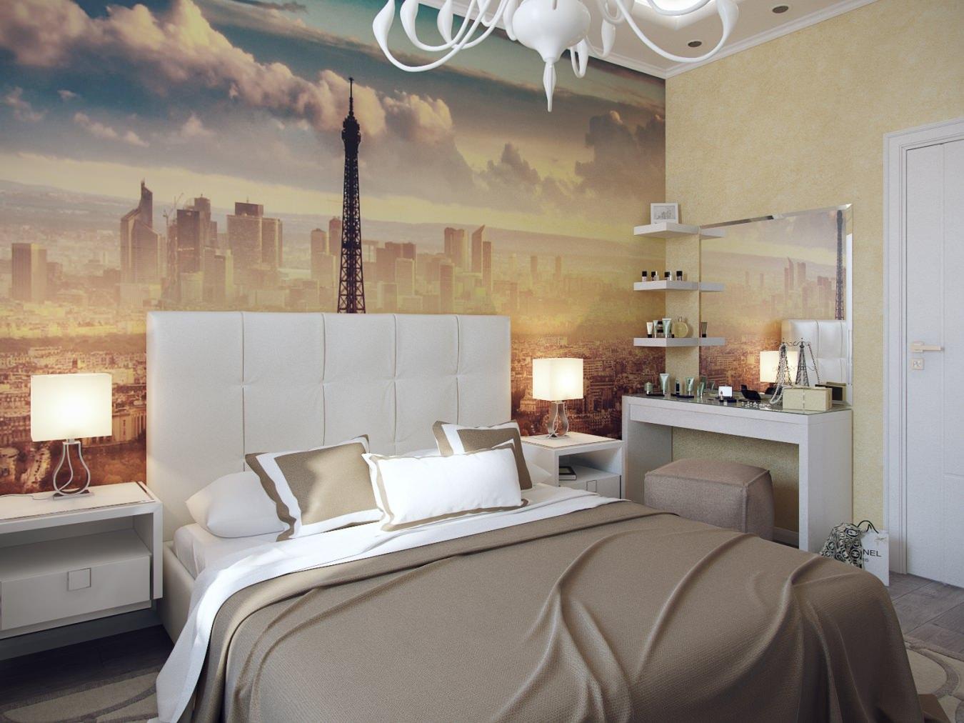 Фотообои с видом на город в спальне