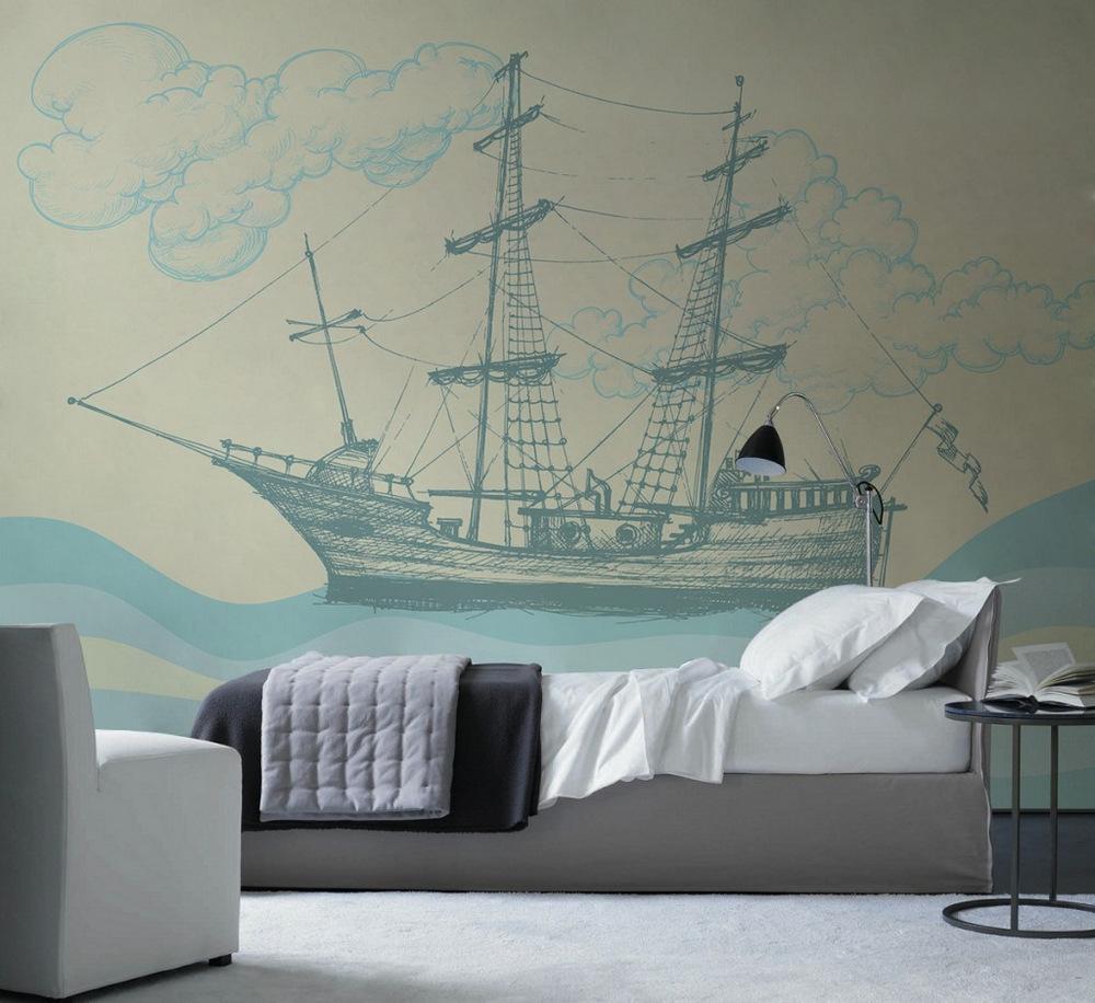 Фотообои с кораблем в детской спальне
