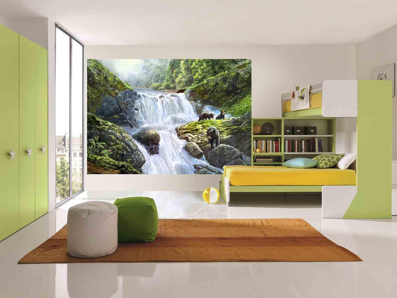 Фотообои с рекой в спальне