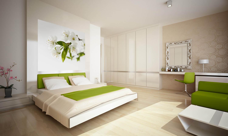 Зелено-белые фотообои с цветами в интерьере спальни