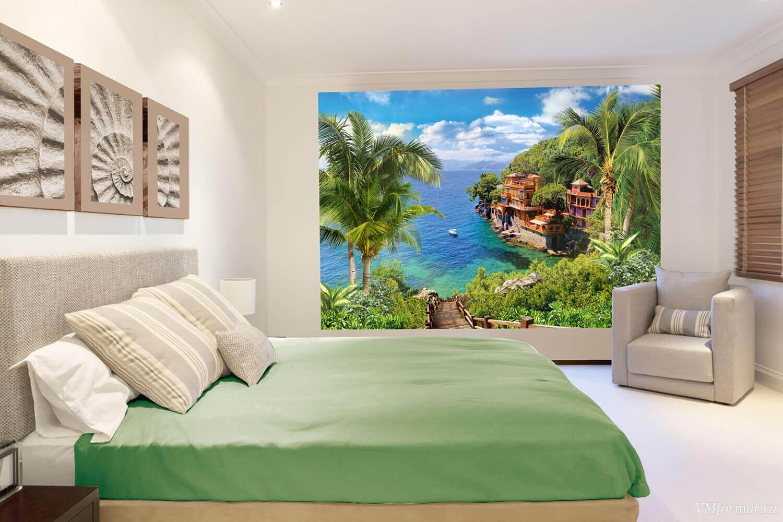 Фотообои с тропическим видом в спальне