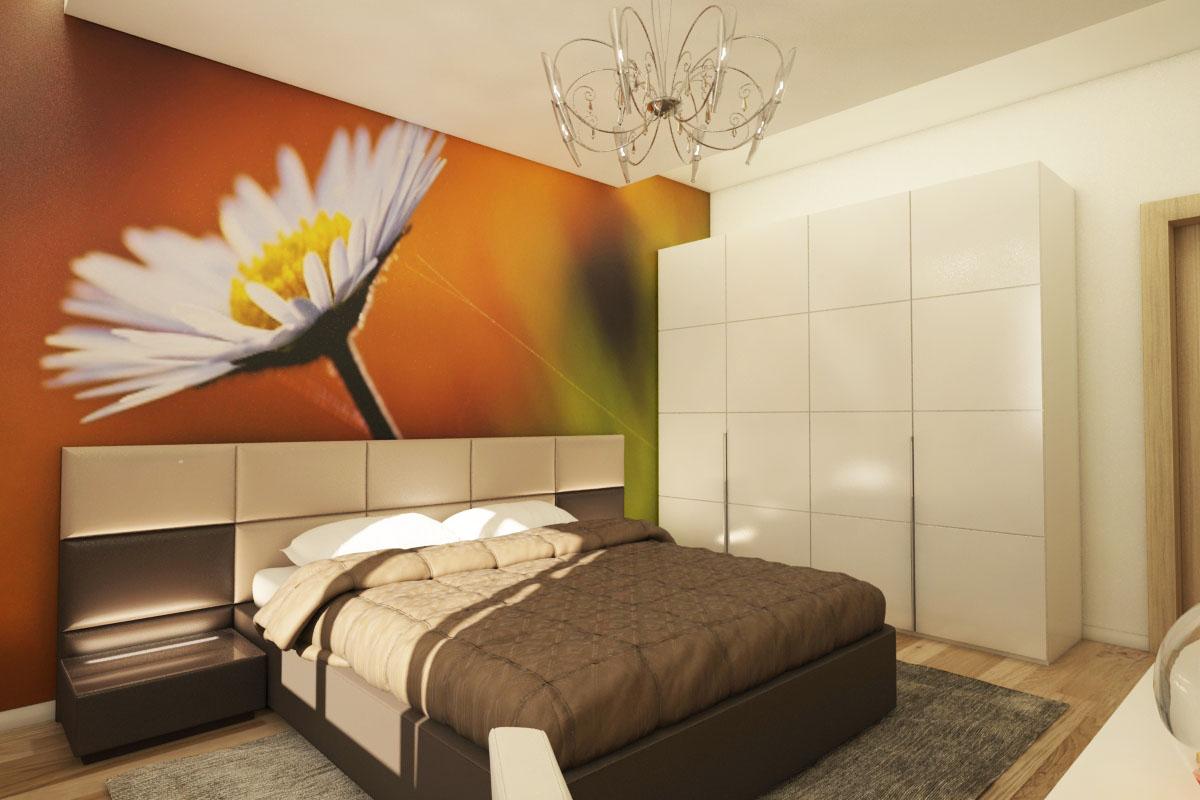Фотообои с ромашкой в спальне